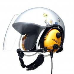 Paragliding helmet for PPG with wire communication set