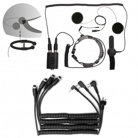 Laryngofon dwuprzetwornikowy ze słuchawkami do kasku (podwójny PTT)