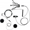 Throat microphone with dual sensor and helmet headsets (finger PTT)