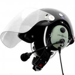 Carbon paragliding helmet for PPG with wire communication set