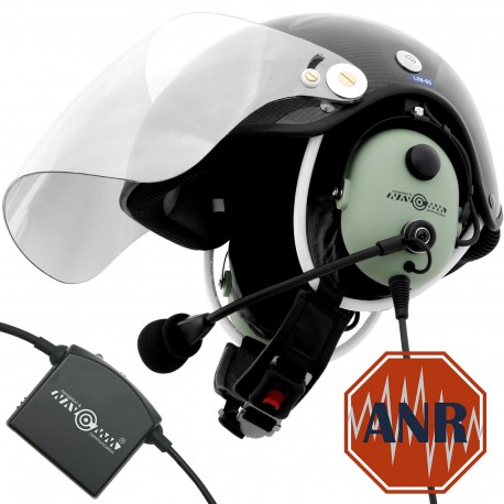 Carbon paragliding helmet for PPG with wire communication set and Active noise reduction