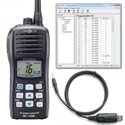 Portable, floating marine radio + programming kit